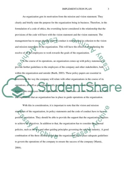 Implementing Code of ethics essay example