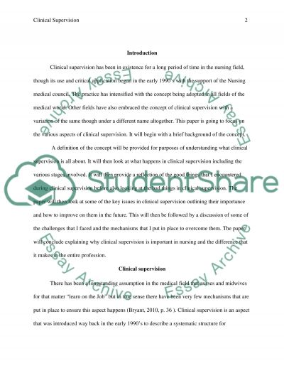 Clinical Supervision Reflection and Action Plan essay example