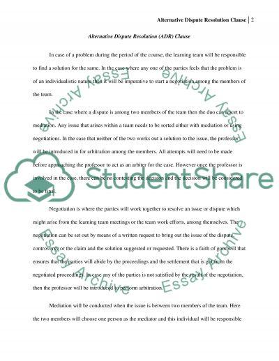 Alternative Dispute Resolution( ADR)Clause essay example
