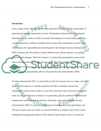 The Transportation Security Administration essay example