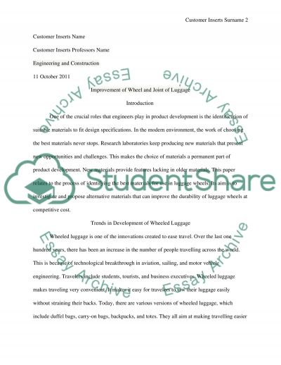 Improvement of Wheel and Joint of Luggage essay example