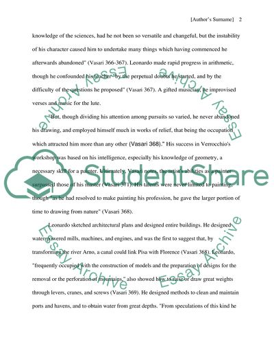 Example Of Thesis Statement For Argumentative Essay The Life Of Leonardo Da Vinci Business Plan Essay also Synthesis Essay Introduction Example The Life Of Leonardo Da Vinci Essay Example  Topics And Well  Healthy Living Essay