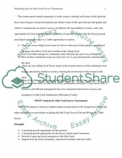 Marketing Plan for Oak Creek Soccer Tournament essay example