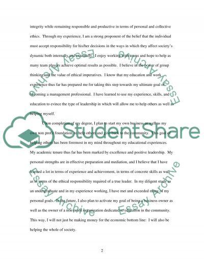 Masters Application Essay