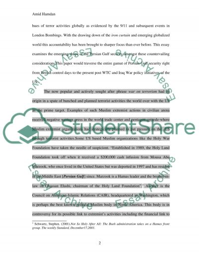 Persian Gulf Security Essay example