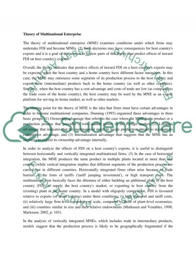 Foreign Direct Investment Essay essay example