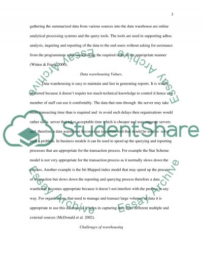 Data Warehousing essay example