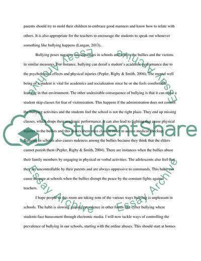 A Speech on Bullying in Schools