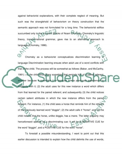 Child Language Essay example
