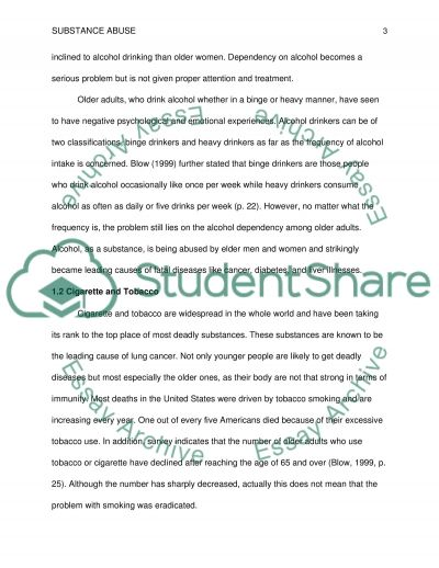 Substance abuse among the older adult essay example