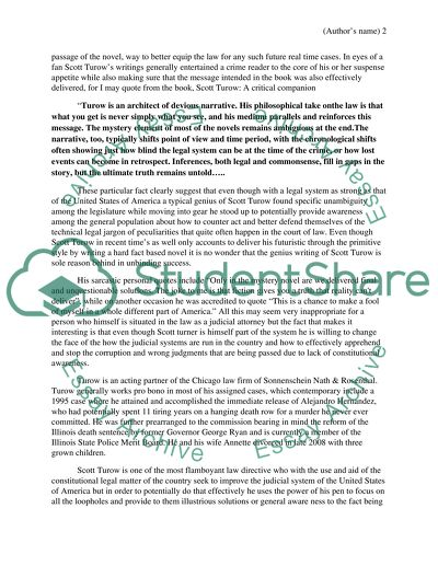 Scott F. Turow English Research Paper