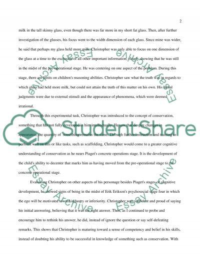 Child developmental Psychology essay example