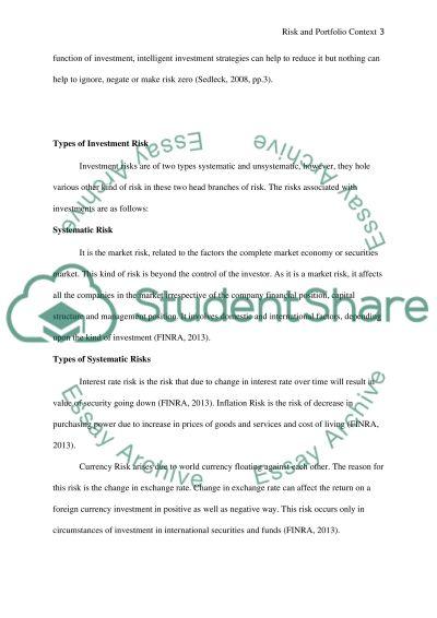 Risk and Portfolio Context essay example