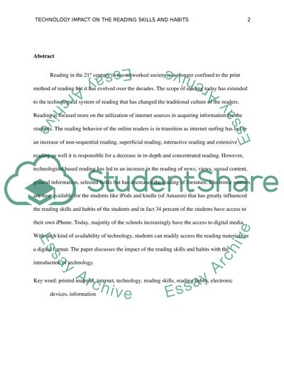 Wonder Of Science Essay The Impact Of Certain Forms Of Technology On Reading Skills Or Reading  Habits Essay Thesis Statement Generator also What Is The Thesis Statement In The Essay The Impact Of Certain Forms Of Technology On Reading Skills Or  Sample Apa Essay Paper