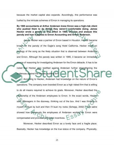 Interpretation of the Enron Story essay example