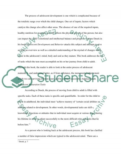 Adolescent Development and Behavior essay example