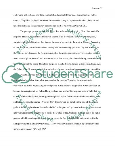 Analysis of Virgils Literature of Aeneid essay example
