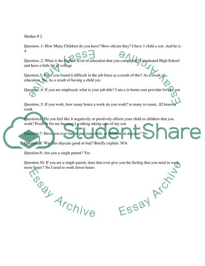 Motherhood and employment (Questions) Essay Example | Topics and
