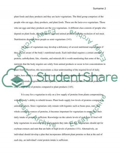 Shortfalls and Benefits of Vegetarian Diet essay example