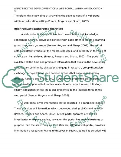 Analyzing the development of a web portal within an education setting essay example
