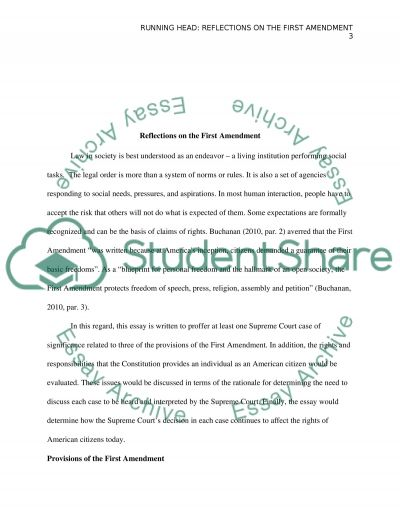 Reflections on the First Amendment essay example