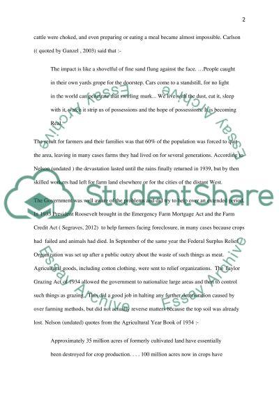 Dust bowl essay example