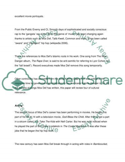Mos Def essay example