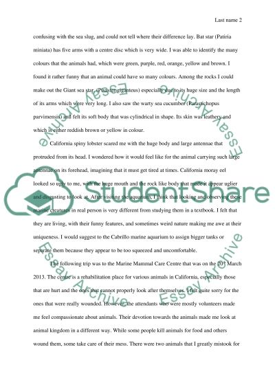 Field Trip Journal essay example