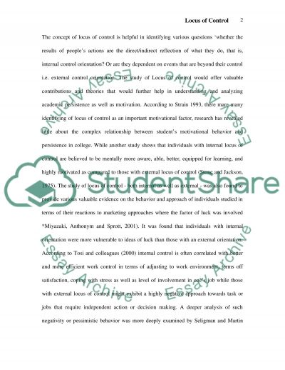 Relationship between Locus of Control and Optimism among Students Essay example