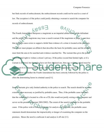 Computer Forensic essay example