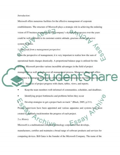 Microsoft report as an organization for Managent Course essay example