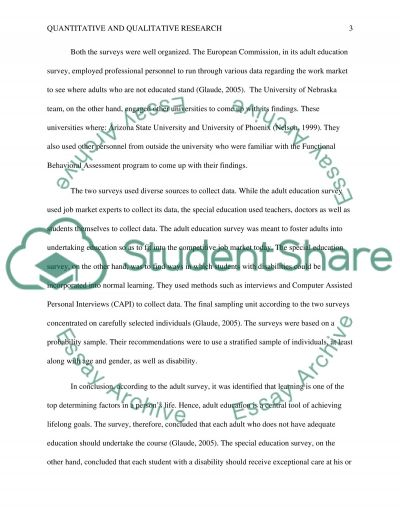 Quantitative and Qualitative Research essay example