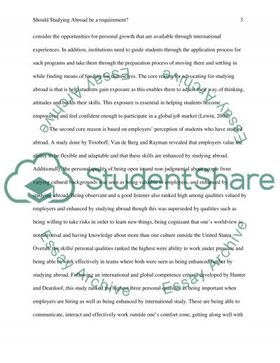 Study abroad essay example
