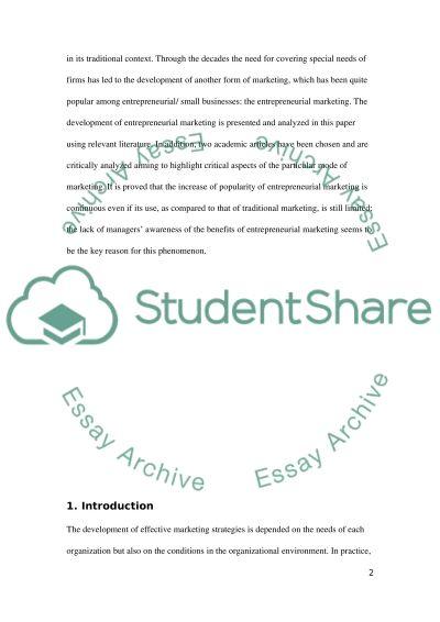 The Development of Entrepreneurial Marketing essay example