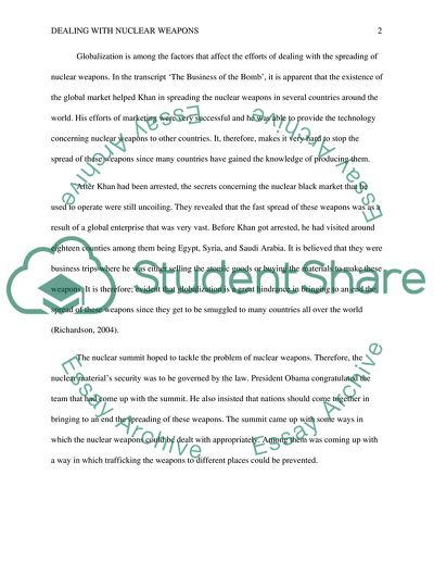 Essay about nuclear weapons