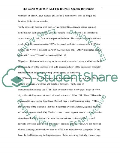 The Internet and the World Wide Web Essay example