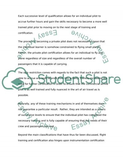 How to be a pilot essay example