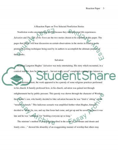 Reaction Paper Nonfiction essay example