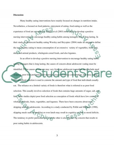 Developing a Nursing Intervention to Encourage Healthy Eating Habits among Teenagers essay example