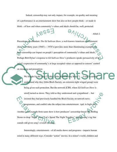 Censorship essay topics