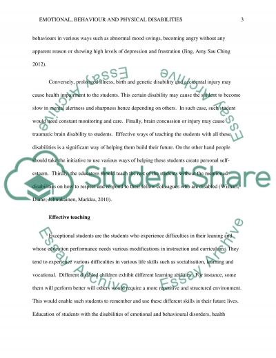 Emotional, Behavorial, and Physical Disabilities essay example