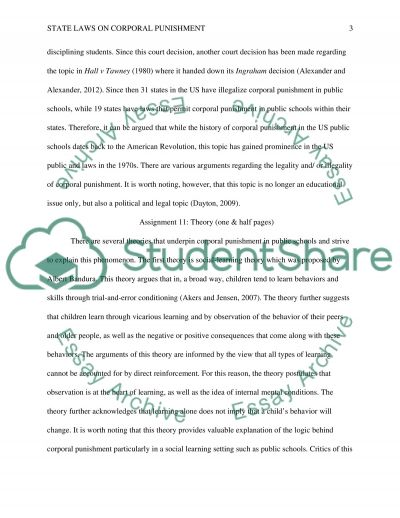 Discipline: State Laws on Corporal Punishment/students conduct in the U.S public Schools essay example