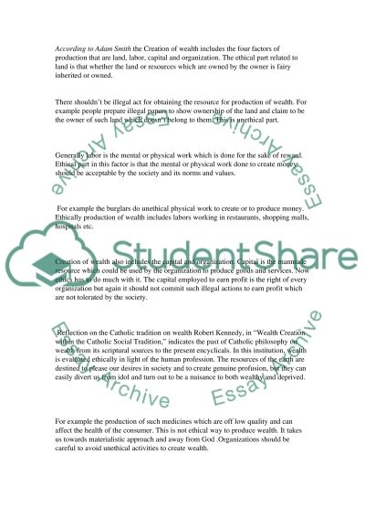 Ethics and Wealth essay example