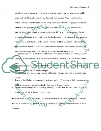 Teaching Literary Strategies in Childrens Books essay example