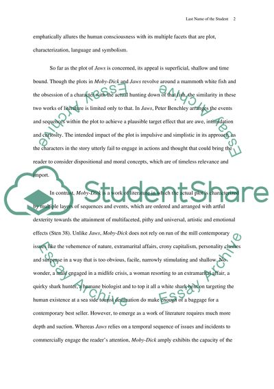 Jaws  Moby Dick Difference Between The Literature And The Trivial  Jaws  Moby Dick Difference Between The Literature And The Trivial Life After High School Essay also Model Essay English  Custom Officer Cover Letter