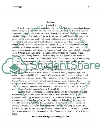 Diversity essay example