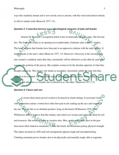 Philosophy Essay - Questions and Answers Essay example