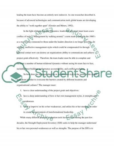 Managing at a distance essay example