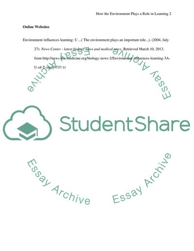 Reference Page - How the environment plays a role in learning
