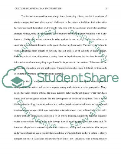 Culture In Australian Universities essay example